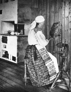 Here is a photograph taken in 1926, taken in western Ingria, in what the Russians call Kingisepps Raion.   She is wearing this costume with what looks like a block printed skirt and linen apron. Note she is wearing a shorter version of the white headdress.