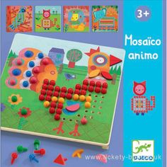 Place the coloured pegs into the holes to create fun pictures. Contains a wooden board, 8 picture cards and 170 coloured pegs.  Suitable From   3+ years Dimensions   Box 30 x 28 x 5cm Brand   Djeco Product Code   DJ08137 Barcode   3070900081376