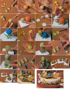 Cute cake with figures tutorial