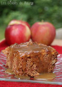 Les délices de Maya: Gâteau pouding aux pommes, sauce au caramel