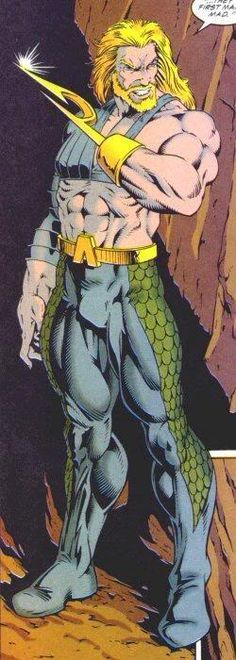 Aquaman - 90's version Aquaman: Half-human and half-Atlantean, Aquaman is forever an outsider to both worlds.