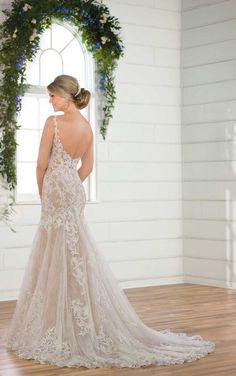 D2548 Layered Lace Wedding Dress with Plunging V-Neckline by Essense of Australia