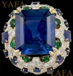 VAN CLEEF & ARPELS Sapphire, Emerald and Diamond Ring - Yafa Jewelry
