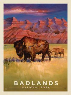 Anderson Design Group – The Kai Carpenter Collection – Badlands National Park: Living the Good Life American National Parks, Us National Parks, Poster Art, Kunst Poster, Poster Vintage, Vintage Travel Posters, Retro Posters, Vintage Prints, Vintage National Park Posters