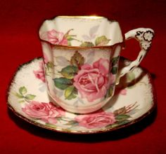 """Royal Stafford Bone China """"Berkeley Rose"""" Square Tea Cup Saucer with Gold Trim! china cabinet, bones, berkeley rose, cup saucer, bone china, squar tea, tea cup, stafford bone, teacup"""