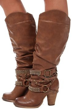 Lime Lush Boutique - Tan Tall Strappy Studded Boot, $84.99 (http://www.limelush.com/tan-tall-strappy-studded-boot/)