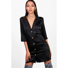 Boohoo Chrissy Oversized Luxe Blazer Dress ($24) ❤ liked on Polyvore featuring dresses, mini cocktail dresses, bodycon midi dress, party maxi dresses, bodycon party dresses and maxi dresses