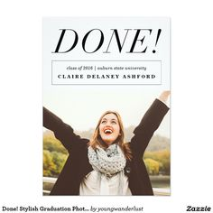 Done! Stylish Graduation Photo Announcements for College Graduates