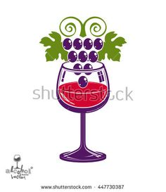 Winery theme vector illustration. Stylized wineglass with grapes cluster, racemation symbol best for use in advertising and graphic design.