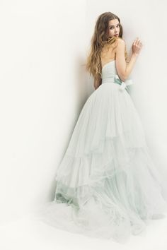 Beautiful pale green beaded tulle fairytale wedding dress by Monique Lhuillier, photographed by Street Studio Blue Wedding Dresses, Wedding Gowns, Prom Dresses, Tulle Wedding, Pretty Dresses, Beautiful Dresses, Mint Gown, Glamour, Wedding Styles