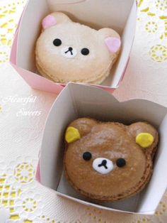 日本人のおやつ♫(^ω^) Japanese Sweets リラックママカロン Rilakkuma & Korilakkuma Macarons {No Recipe}