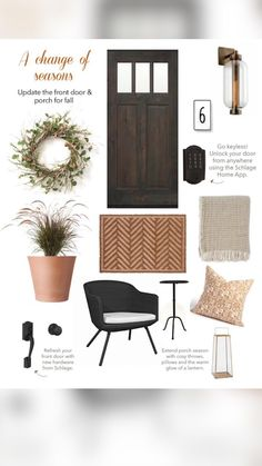 Front Door Porch, Front Doors, Fall Plants, Fall Home Decor, Fall Wreaths, Smart Home, Entryway Bench, Lanterns, Door Handles