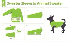 DIY Dog Sweater I may actually do this tomorrow to protect my dogs from the crazy 45 degree wind chills coming up Chihuahua, Yorkie, Baby Hut, Animal Sweater, Crochet Dog Sweater, Dog Clothes Patterns, Animal Projects, Dog Sweaters, Dog Coats