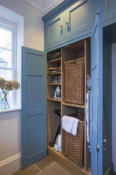 A well designed utility or boot room area with considered storage solutions can significantly improve your day to day living. A well designed utility or boot room area with considered storage solutions can significantly improve your day to day living. Laundry Cupboard, Hall Cupboard, Utility Cupboard, Mudroom Laundry Room, Small Laundry Rooms, Laundry Room Design, Cupboard Storage, Laundry Baskets, Storage Shelves