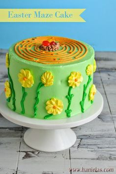Haniela's: Easter Maze Cake with Simple Buttercream Flowers