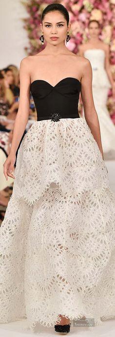 style | gorgeous gowns - dramatic black & white oscar de la renta spring 2015 gown