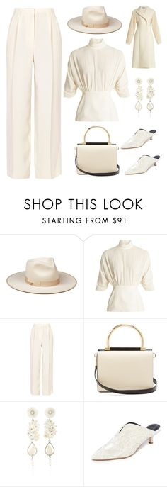 """""""monochrome ivory"""" by im-karla-with-a-k ❤ liked on Polyvore featuring Emilia Wickstead, The Row, Salvatore Ferragamo, Of Rare Origin, TIBI and Sportmax"""