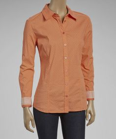 Look what I found on #zulily! Tangerine Pin Dot Button-Up by Tribal #zulilyfinds