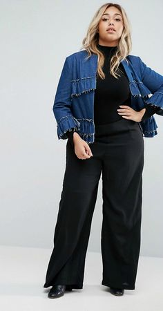 Looking to add some ruffles to your wardrobe this Spring? We found 10 plus size fashion forward options from our fave retailers, for your curves and your closet!   Denim and Ruffles..Yes Please.  Helene Berman Plus Ruffle Jacket In Denim at Asos.com  Seeing Ruffles: 10 Fancy & Feminine Must Have Ruffle Blouses http://thecurvyfashionista.com/2017/03/fancy-feminine-ruffle-pieces/
