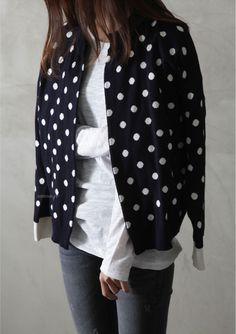 polka dots + white tee + distressed black jeans