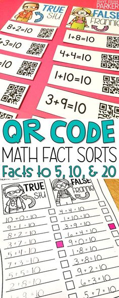 Differentiated Math Facts sorts - addition and subtraction facts to 5, 10, and 20. Your students will love using the QR codes in this math center. Perfect activity for your kindergarten, first grade, and 2nd grade students.