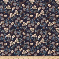 Modern Lace Reticella Navy from @fabricdotcom  Designed by Amanda Murphy for Blend Fabrics, this cotton print is perfect for quilting, apparel and home decor accents.  Colors include ivory, orange and shades of blue.