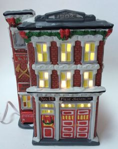 Coca Cola Town Square Firehouse Fire Station No 14 Christmas Village Building