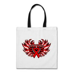 Stroke Awareness Heart Wings Bag by giftsforawareness.com #StrokeAwareness #StrokeAwarenesstotebags