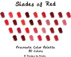 SHADES OF RED color palette / procreate / swatches / color palette / iPad / iPad Pro Material Color Palette, Red Colour Palette, Palette Art, Color Palate, Copic Color Chart, Color Mixing Chart, Colour Chart, Shades Of Red Color, Hair Color Swatches