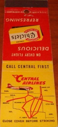 Central Airlines 1948 #matchbook To design & order your business' own advertising #matches GoTo GetMatches.com