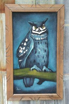 """Vintage NIGHT OWL BLACK VELVET PAINTING ~ Mexico Signed Luis ~ 13""""x23"""" Framed #OutsiderArt #Blue #Owl #Velvet #Painting"""