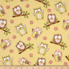 Fat Quarter You Whoo Owls Toss (Yellow) Cotton Quilting Fabric - Henry Glass