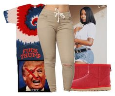 """#HeIsNotMyPresident"" by thailyn-nicole ❤ liked on Polyvore featuring UGG and Trump Home"