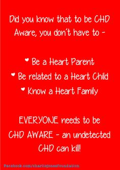 CHD awarness. It's true I knew nothing about CHDs until my nephew was diagnosed