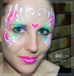 #facepaint design idea butterfly mask rainbow by Far Away Faces