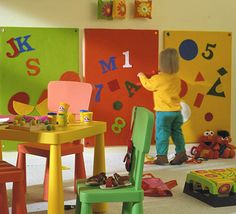 Felt wall, add to a magnetic wall, cork wall or a white board to make a trio. I think I need more wall space in my playroom!