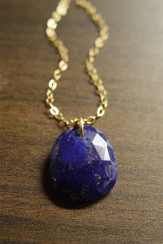 Lapis Rose Cut Necklace 14k Gold Filled by friedasophie on Etsy