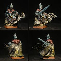 A wight king miniature painted for Warhammer Fantasy Battle, or Age of Sigmar if need be. A light conversion. In AoS he would be a Wight King with Baleful Tomb Blade - Deathrattle in Death Grand Alliance. I have him a pointy helmet to make him fit my slavic army theme.
