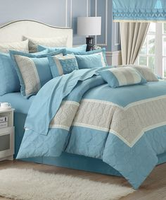 Love this Blue Aida Quilted Embroidered Bedroom Set on #zulily! #zulilyfinds