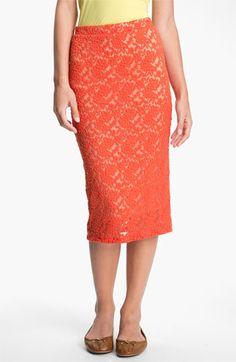 h.i.p. Lace Midi Skirt (Juniors) | Nordstrom