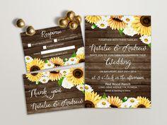 Rustic Wedding Invitation Printable, Daisy & Sunflower Wedding Invitation, Brown Wood Country Wedding Invite, Printable Wedding Invitation - pinned by pin4etsy.com