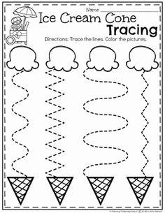 Preschool Tracing Worksheets in an Ice Cream Theme Preschool Learning Activities, Preschool Curriculum, Free Preschool, Preschool Lessons, Preschool Crafts, Summer Preschool Themes, Vocabulary Activities, Spanish Activities, Teaching Spanish