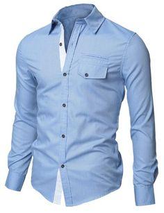 Doublju Mens Casual Plaid Patched Pocket Slim Dress Shirts(D063): Amazon.co.uk: Clothing
