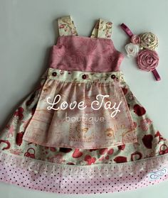 Girls apron dress swing top Cupids Heart by LoveTayBoutique - LOVE this!