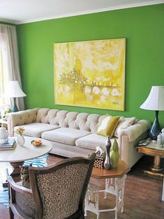 Paint One Wall In The Room To Make An Effortless Statement Living Room Green Green Rooms Green Accent Walls