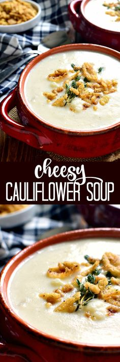This Cheesy Cauliflower Soup is creamy, comforting, and packed with delicious flavor! Perfect for busy weeknights or lazy weekends at home....and you won't believe how easy it is to make!
