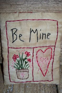 Primitive Valentines Stitchery Pillow Tuck  Be by Me2UPrimitives, $3.50