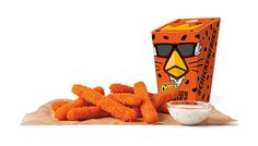 """Burger King Cheetos Chicken Fries -  Cheetos Chicken Fries feature the distinctive formed white meat chicken """"fries"""" covered in a Cheetos-flavored breading and then deep-fried."""