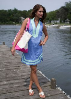 Sail to Sable Classic Sleeveless Dress in Marina Blue. Available in store & online @ www.theluckyknot.com.