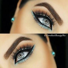 How to make your eyeliner stay on all day? Eyeliner is one of the essential items that should be in your makeup bag as it works in conjunction with your mascara to create large, beautiful eyes that st. Makeup Goals, Love Makeup, Beauty Makeup, Gorgeous Makeup, Hair Beauty, Teal Makeup, Purple Makeup Looks, Exotic Makeup, Glamorous Makeup